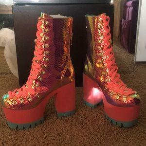 Vixen snake platform heel boots - pink